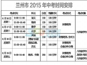 2015年兰州中考文化课考试时间:6月16日-19日